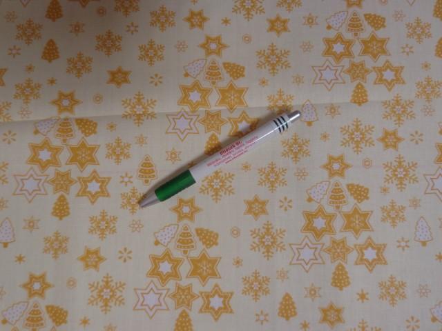 Karácsonyi mintás kevertszálas vászon, ekrü alapon arany-fehér csillagos (12101)