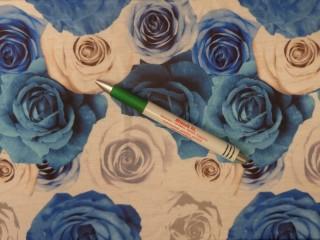 Rugalmas viszkóz jersey, kék-fehér rózsás (12123)