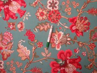 Loneta, türkiz zöld alapon virágos-mintás, kerti bútor vászon (12125)