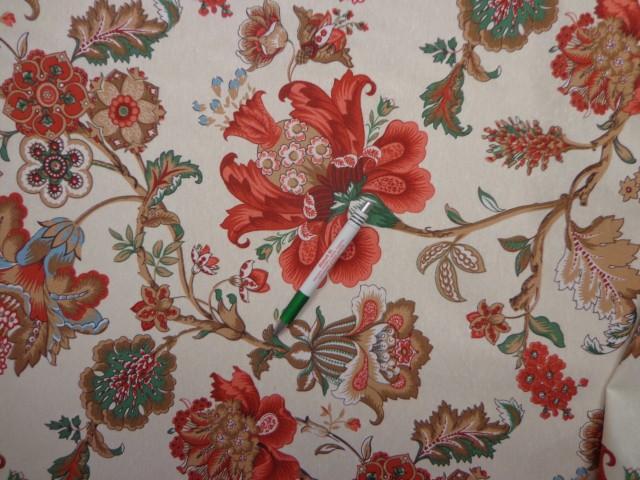 Loneta, bézs alapon virágos-mintás, kerti bútor vászon (12126)