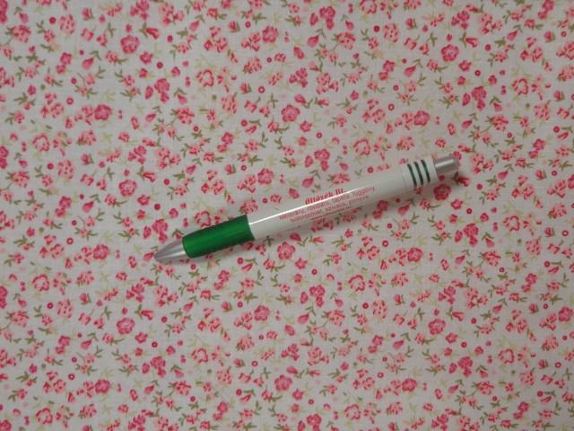 Mintás pamutvászon, fehér alapon rózsaszín virágos (12177)