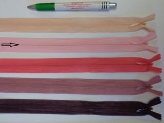 Rejtett cipzár, 25 cm-es, rózsaszín (12229)