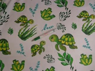 Gyerekmintás pamutvászon, zöld teknős (12313)