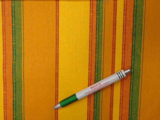 Loneta, sárga-mustár-zöld csíkos kerti bútor vászon (12351)