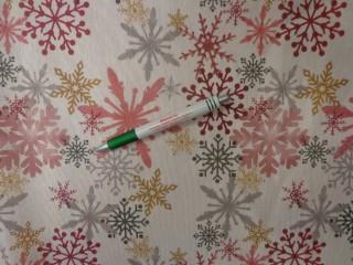 Loneta, karácsonyi vászon, színes hópelyhes (12354)