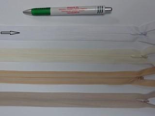 Rejtett cipzár, 60 cm-es, fehér (12398)