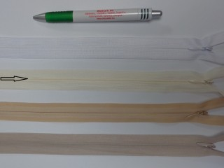 Rejtett cipzár, 60 cm-es, ekrü (12399)
