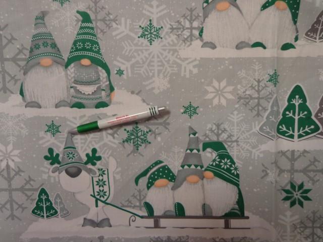 Karácsonyi pamutvászon, szürke-zöld manós (12535)