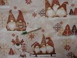 Karácsonyi pamutvászon, drapp-barna manós (12536)