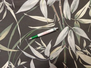 Loneta, fekete alapon bambuszos, kerti bútor vászon (12541)