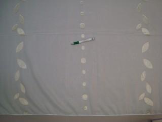 Fehér alapon  arany, fényes levél - és kör mintájú  fényáteresztő függöny, 180 cm magas (7328-10)