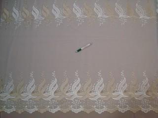 Ekrü alapon drapp és fehér színű, hímzett mintájú fényáteresztő függöny, 200 cm magas (7328-16)