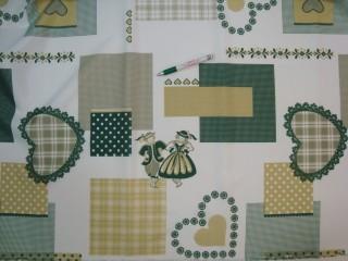 Teflonos asztalterítő anyag, zöld, népművészeti motívumos (6047-4)