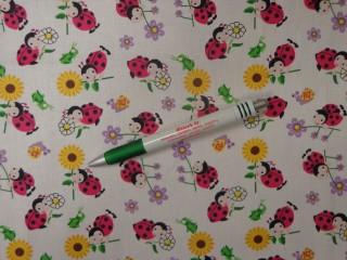 Gyerekmintás vászon, katicás-virágos (12613)