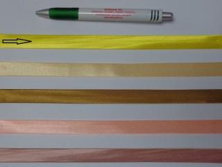 Szatén ferdepánt, 1,5 cm széles, citromsárga (12704)