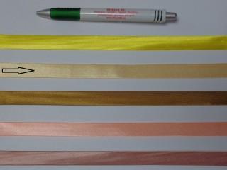 Szatén ferdepánt, 1,5 cm széles, mézsárga (12705)