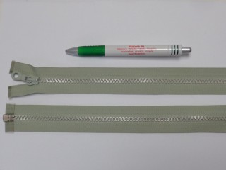 75 cm hosszú GT-10-es (P-6) vastag fogú zipzár, világos keki (12719)