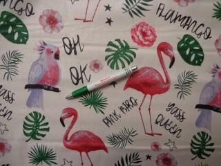 Mintás pamutvászon, flamingós-leveles (12730)