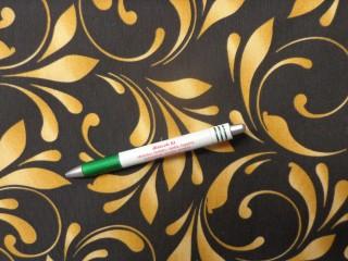 Loneta, fekete alapon arany mintás, kerti bútor vászon (12734)
