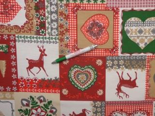 Loneta, karácsonyi patch-work mintás kerti bútor vászon (12739)